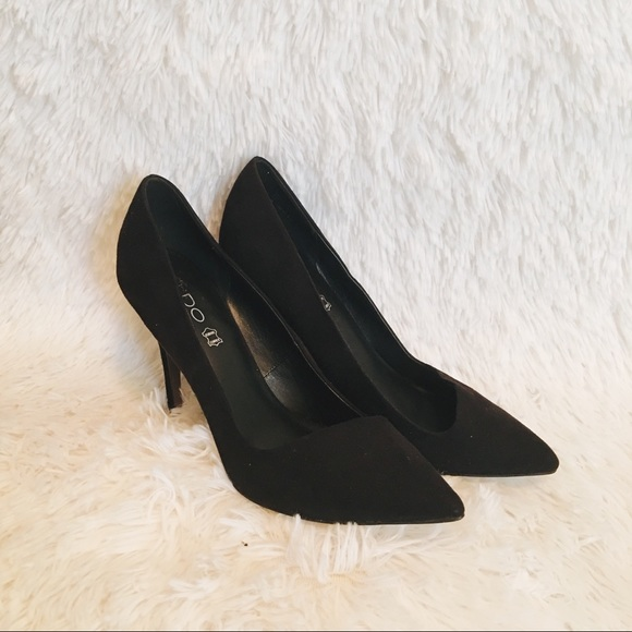 black suede stilettos